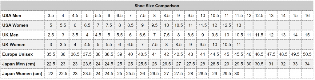 True to fit? Brooks Size Guide